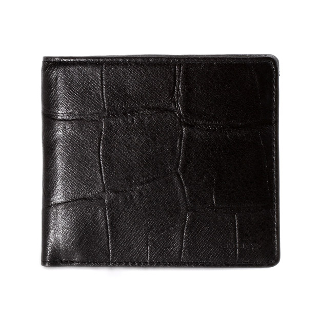 aniaryアニアリ 二つ折り財布 型押し クロコダイル Double Embossed Leather Bill Holder aniary 12-20000