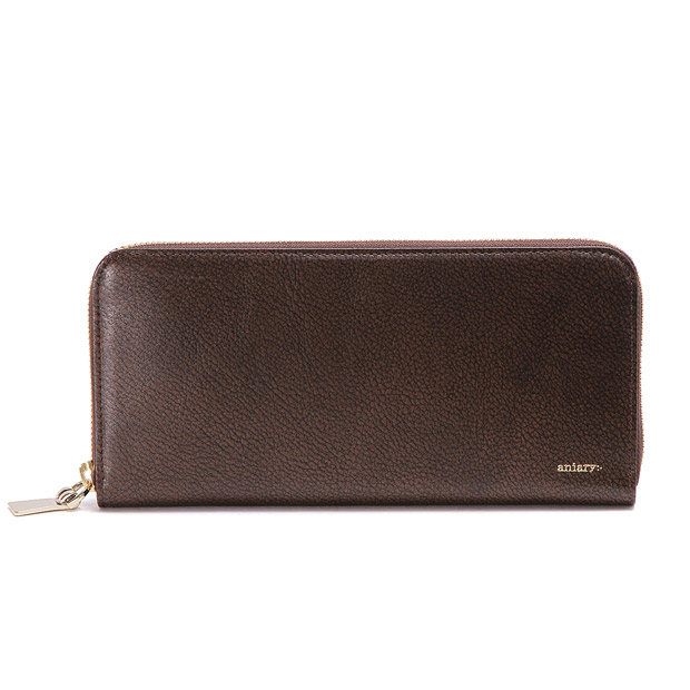 aniaryアニアリ ラウンドL 長財布 Grind Leather Zip Bill Holder L ANIARY 15-20003